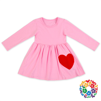 Baby Valentine's Day Cotton Gather Waist Dress Long Sleeve Kids Valentines Dresses Boutique Girl Valentine's Day Dress