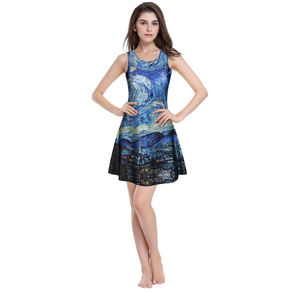 Woman Fashion Summer Sleeveless Print pleated Dress