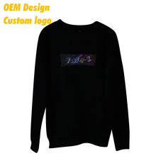 Wholesales Fashion sublimation Cotton spandex Silm size custom hangtag Black Round neck Uniform Sweater without hood