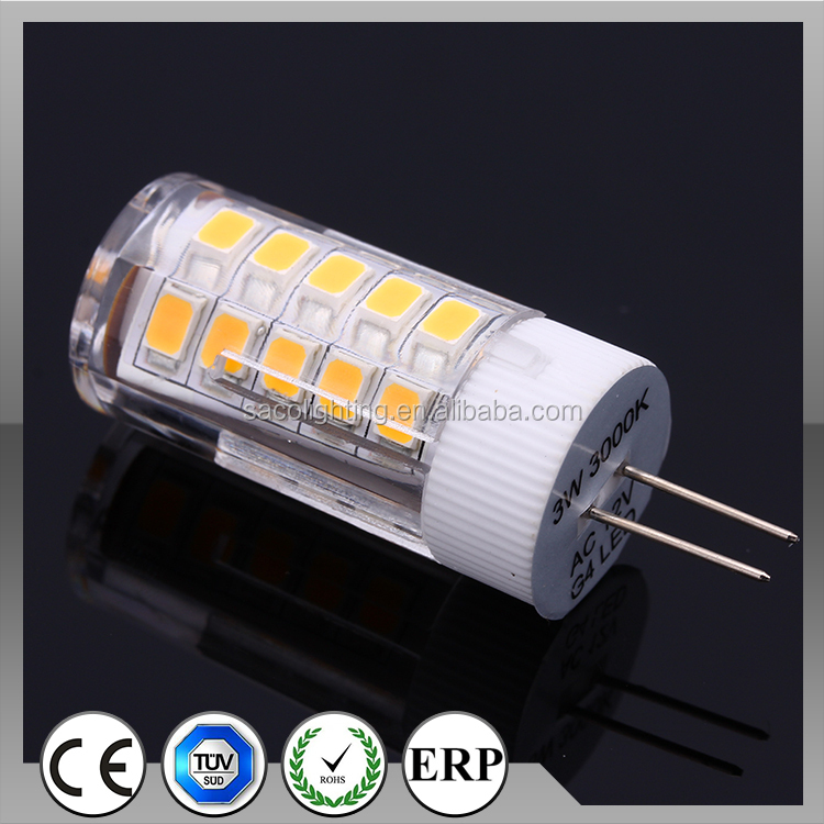 New Cearmic Heatsink AC/DC12V SMD LED corn g4 led with FC CE RoHS