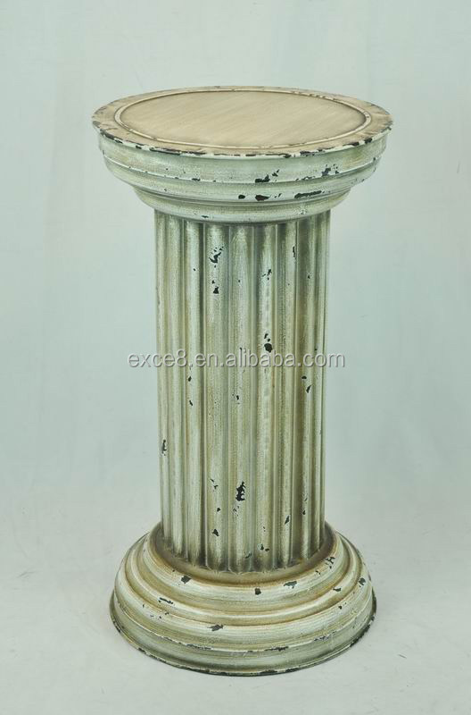 Distressed white Roman metal flower stand for garden