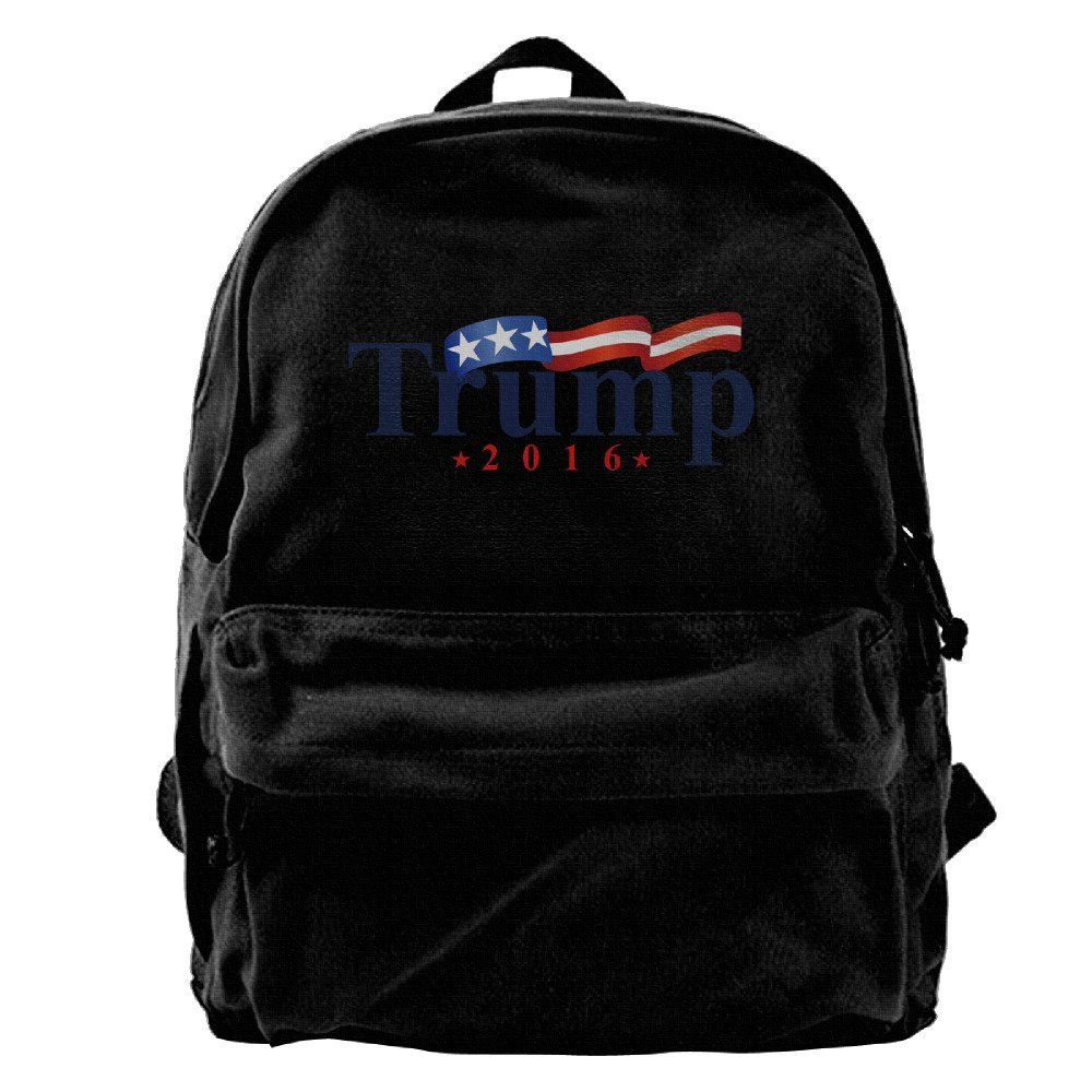 Canvas Backpack, Donald Trump 2016 American Flag Casual Laptop School Bag Daypack For Travel, Hiking, Camping