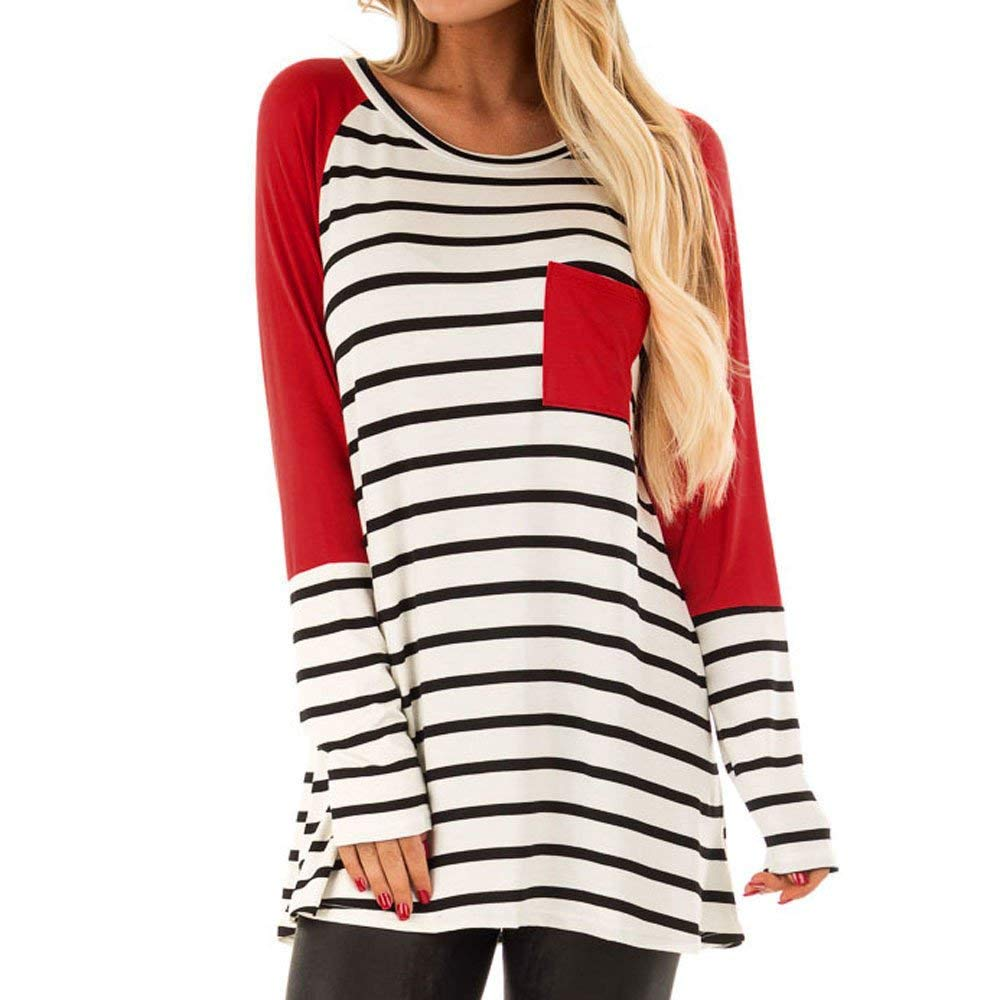 Womens Tops Clearance Sweatshirt Women's Stripe Printing Pocket Shirt Long Sleeve Casual Shirt Tops Blouse