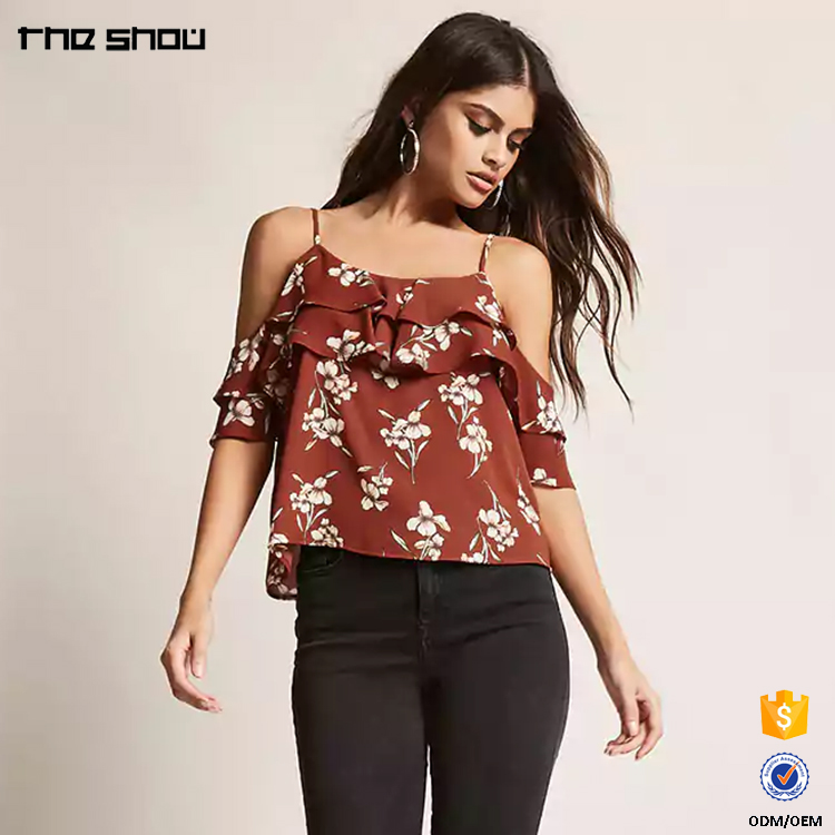 OEM factory service open shoulders womens fashion clothing printed
