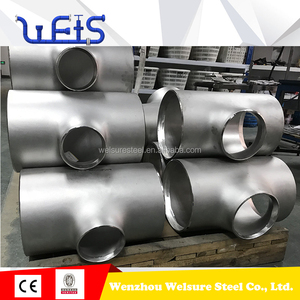 STD wall thickness BW pipe fitting A403 stainless steel reducing equal tee
