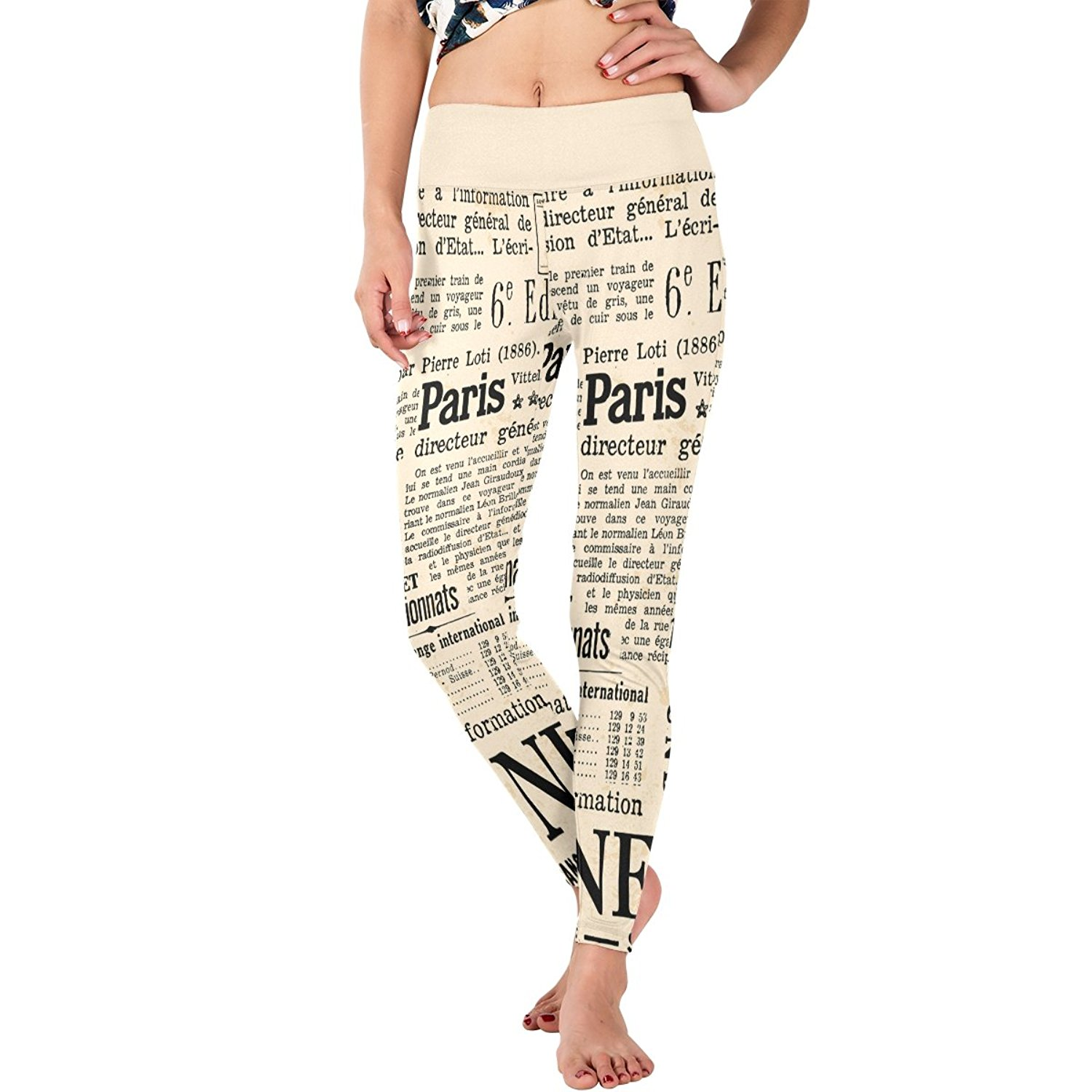 5e6368a6ed526 Get Quotations · BLockYouX Yellowing Newspaper Women's Elastic Yoga Pants  Legging