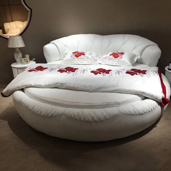 super king size white black red grey leather soft round furniture bed