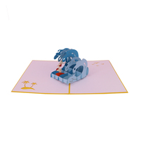 Custom 3D Popup Surfing Happy Birthday Greeting Card