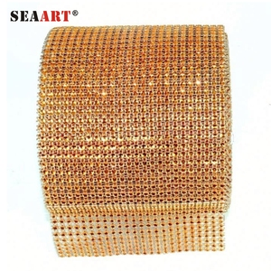 Crystal Gold Rhinestone Net Ribbon Trimming On Mesh To Sew On Bags Shoe Or Garment