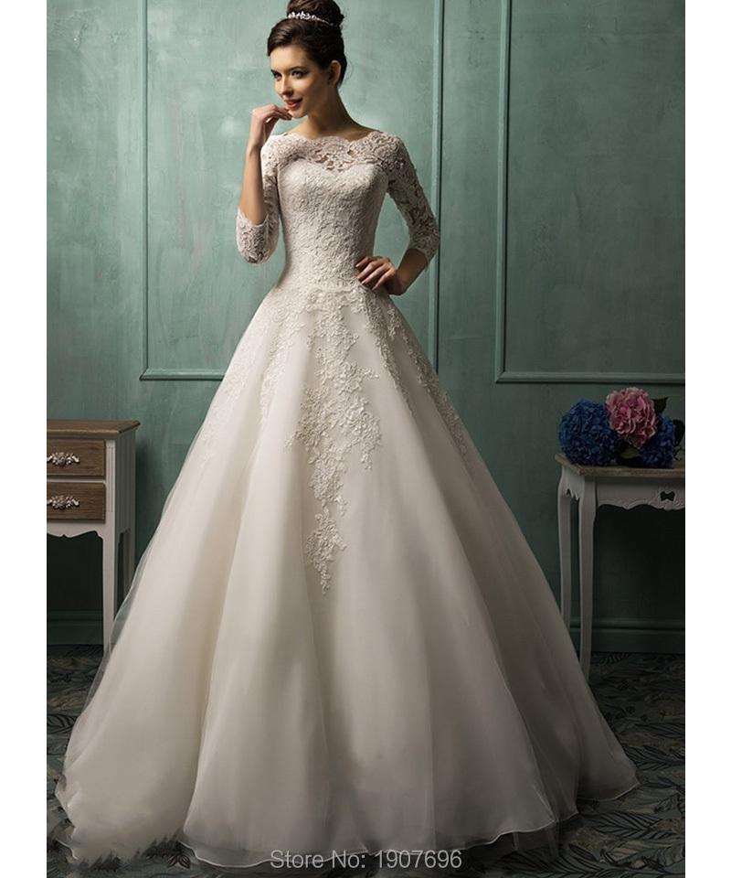Vintage Three Quarter Length Wedding Dresses: Online Shopping Sheer Wedding