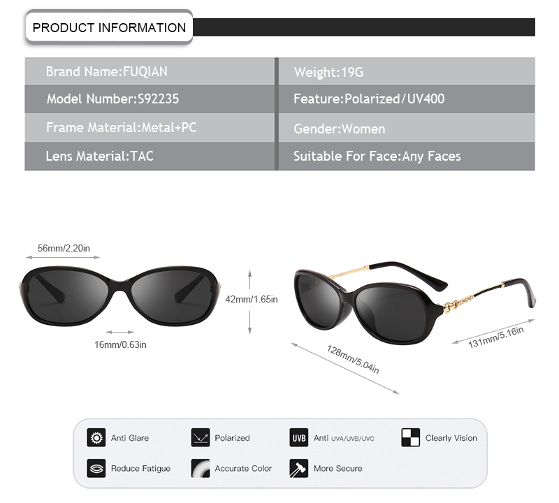 2019 Promotional Small Frame Oval Round TAC Polarized Women Sunglasses