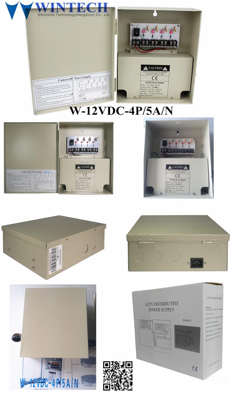 PTC 12 V dc 5a 4 forma de protección de seguridad 4ch cctv caja de alimentación