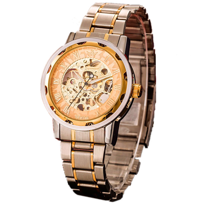 2015 Transparent Gold Watch Mens Watches Top Brand Luxury Male Clock Men Fashion Casual Mechanical Skeleton Watch Montre Homme