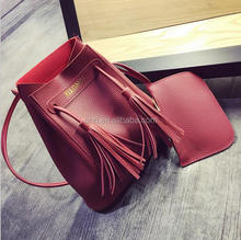 2017 NEW Fashion Tassel Bucket Bag Two Piece set European and American Style Litchi Grain PU Leather Handbag for Women