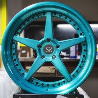 18-22 inch Blue coating good quality aftermarket customer design 3 piece aluminium alloy forged wheel