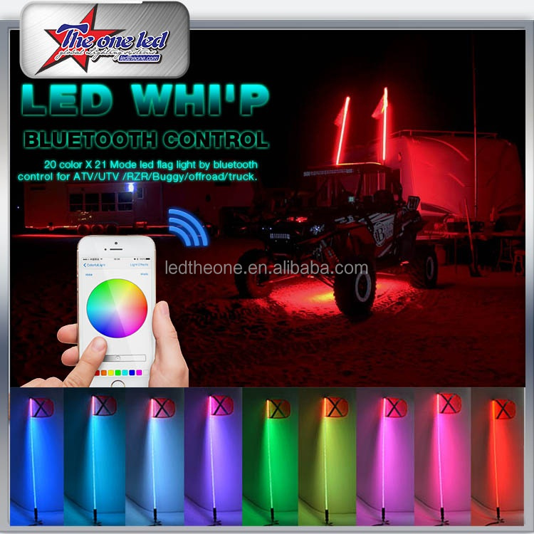 Remote RGB change colors LED Lighted Whips for ATV UTV