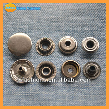 15mm Metal Brass press snap button antique silver color