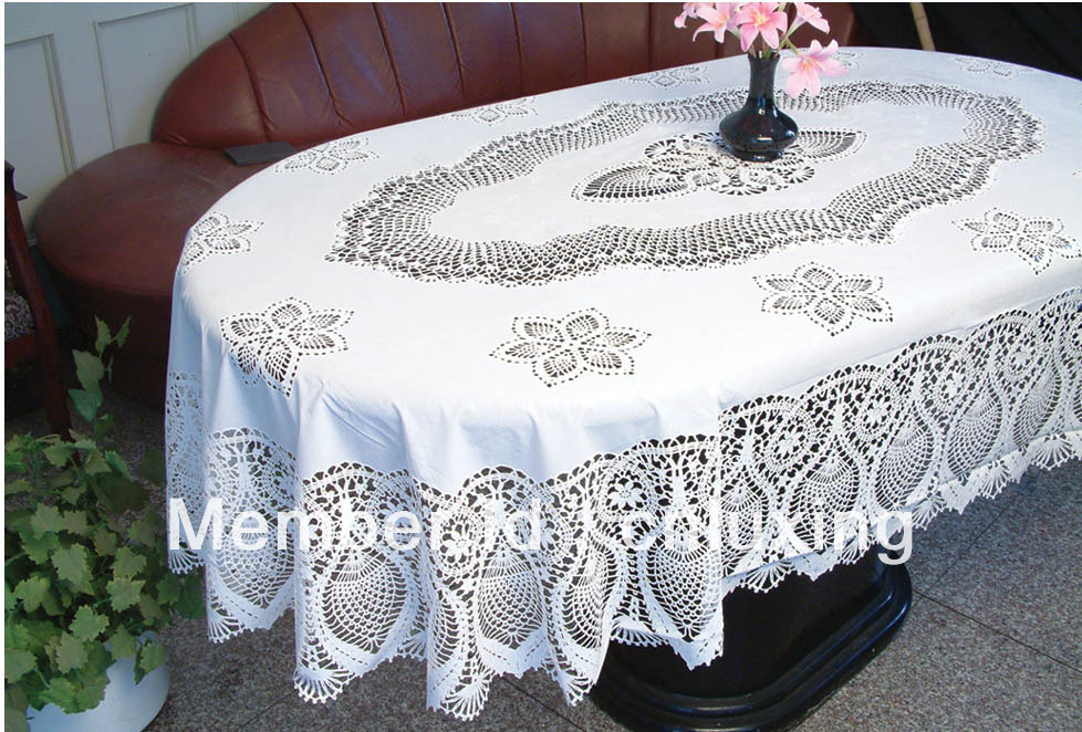 oval crochet pvc nappe 60 90 dans linge de table de maison jardin sur. Black Bedroom Furniture Sets. Home Design Ideas
