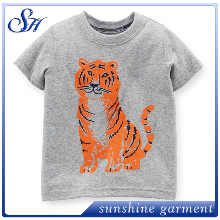 Wholesale o-neck kid T shirt, Wholesale Clothing T-shirt Printing tiger