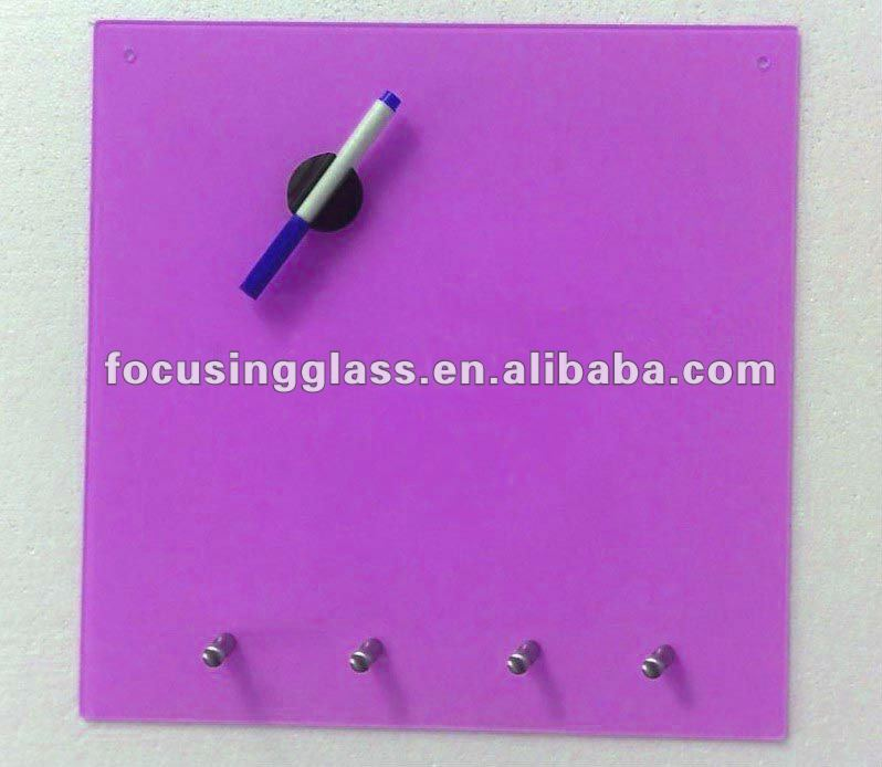 pink color small size stand 1C printing with key rack glass key hanging board