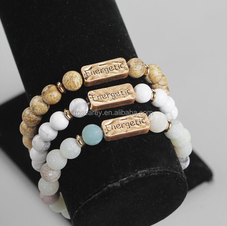 Best Family Christmas Gift Mom Dad Yoga Onyx Lava Howlite Stone Healing Gemstone Bracelet