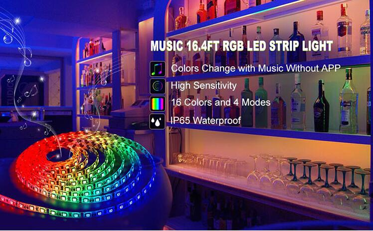 wholesale led lighting 5M waterproof remoto control music led light strip