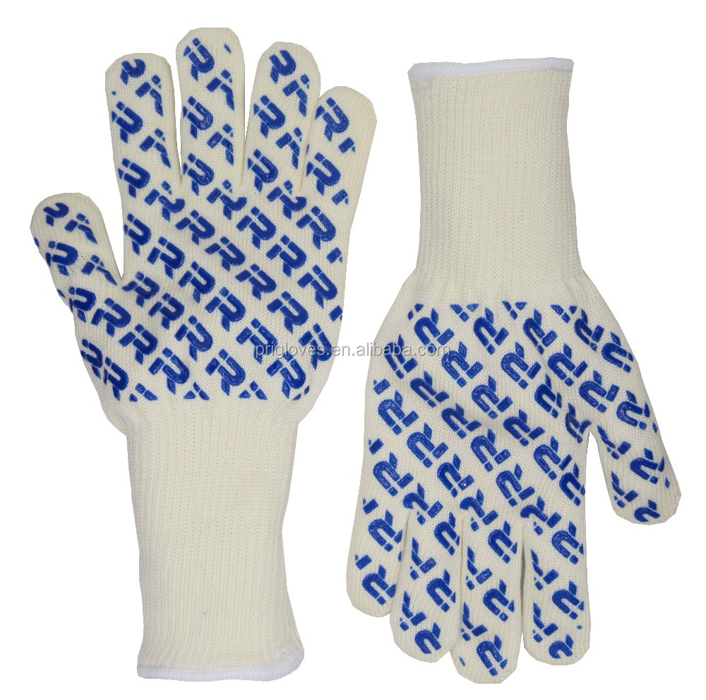 "Oven Mitt Heat Resistance BBQ Oven Gloves Withstand Up to 932F 14"" White"