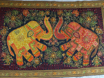 Zari Work Wall Hanging Handmade Decor From India Elephant Theme