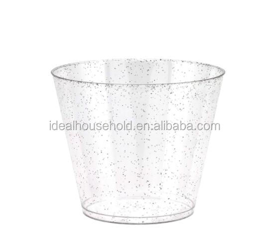 9 OZ Disposable Plastic Sliver Glitter Cup