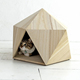 New design wholesale dog beds Manual indoor craft wooden luxury pet dog cat bed cave house