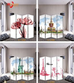 Eiffel Tower Oil Painting Screen 4 Piece Divider Modern Wall Art Canvas Paintings for Sale