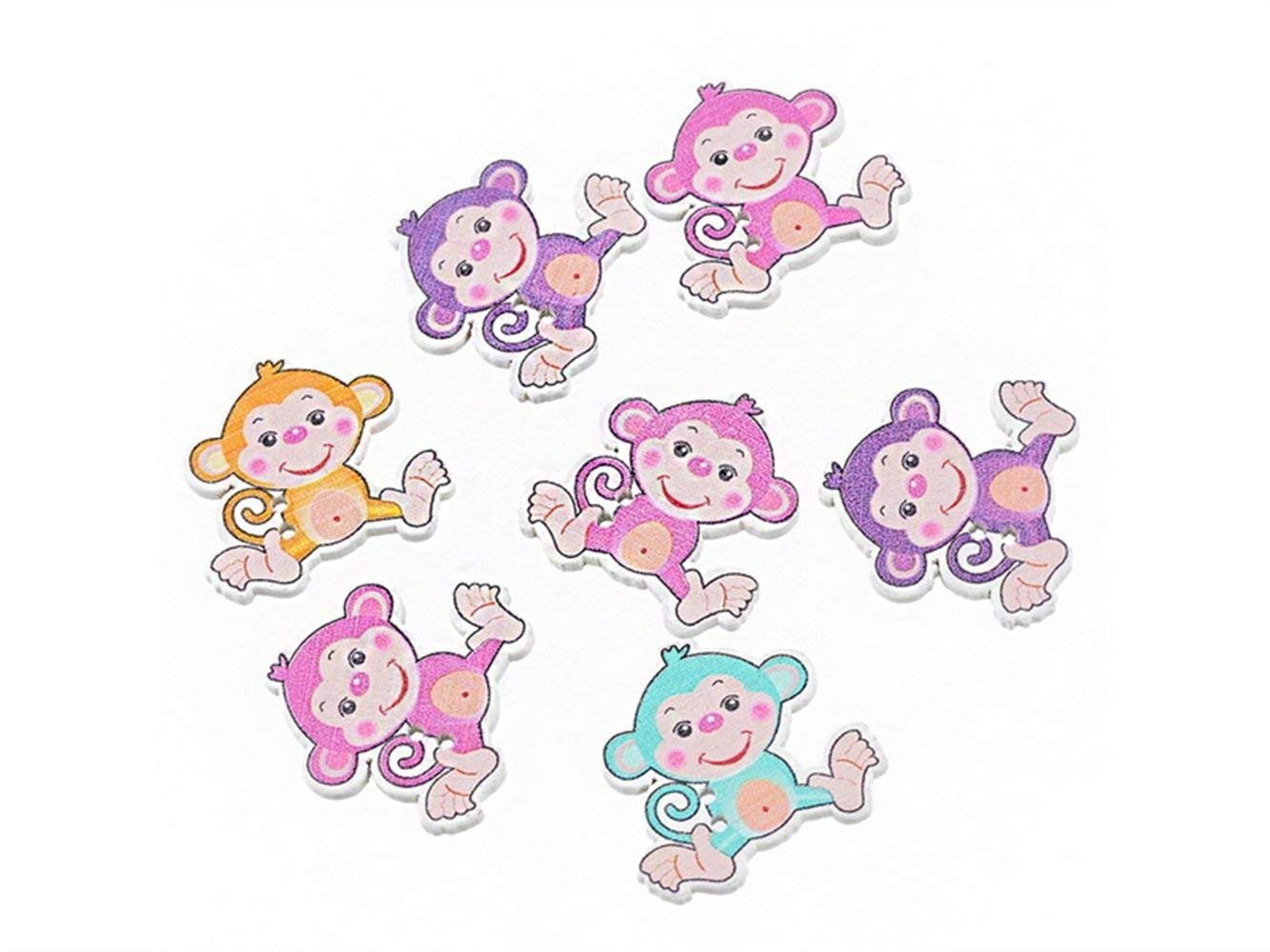 Yuchoi Perfectly Shaped Approx.30 Pcs Cute Monkey Shape Wooden Cartoon Buttons for Handmade (Colorful)