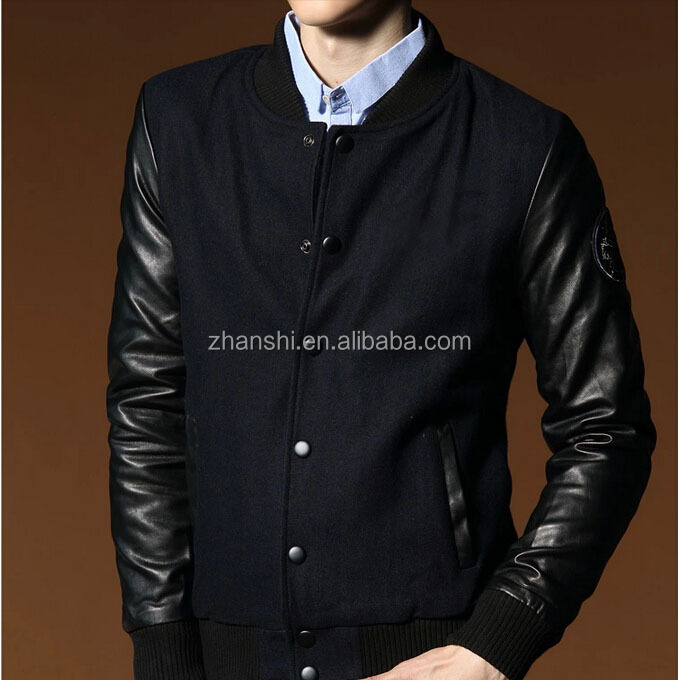 Uk Designer Vintage Flight Black Wool Mens Bomber Jackets With ...