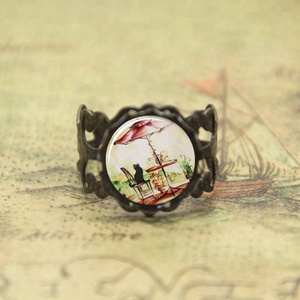 French Cafe Kitty Cat ring cat lover glass Photo Cabochon ring