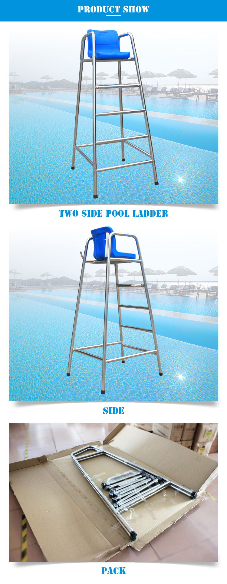 Stainless Steel 304 Swimming Pool Life Guard Chair