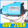 electric bike battery 48v 20ah Triangle lithium ion 48V 1000W Free BMS Charger shipping and duty