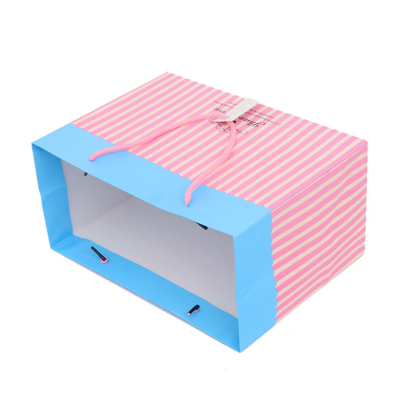 FREE SHIPPING! SMALL PAPER BAGS WITH HANDLES  GIFT PAPER BAG BLUE AND PINK COLOR BLOCKING  DESIGN S 13*7.5  *21 cm
