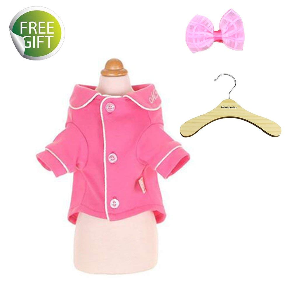 Newtensina Pets Pajamas Cute Dog Nightdress Cotton Nightgown for Dogs - Include a Cute Pink Hair Clips & a Hanger