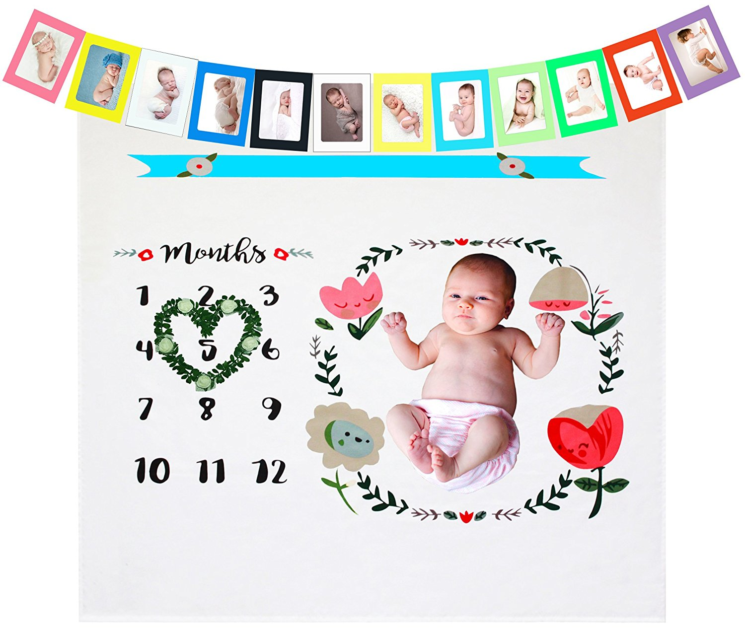 Monthly Baby Milestone Props Blanket for Photo Personalized Baby Gifts for New Moms, Newborn Girl Boy Blankets Shower Gifts