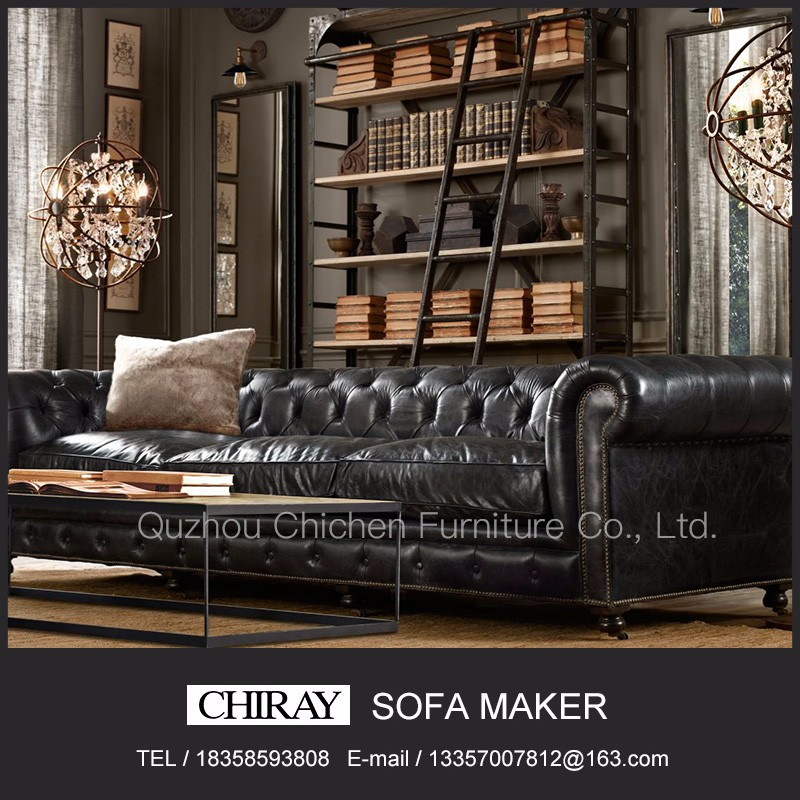 classical luxury antique vintage genuine leather european style 1 2 3 seater chesterfield sectional sofa set with button