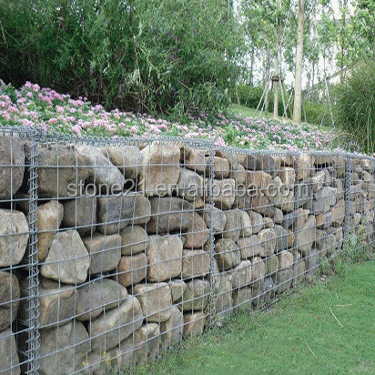 gabion cage avec les cailloux ext rieur de d coration mur. Black Bedroom Furniture Sets. Home Design Ideas