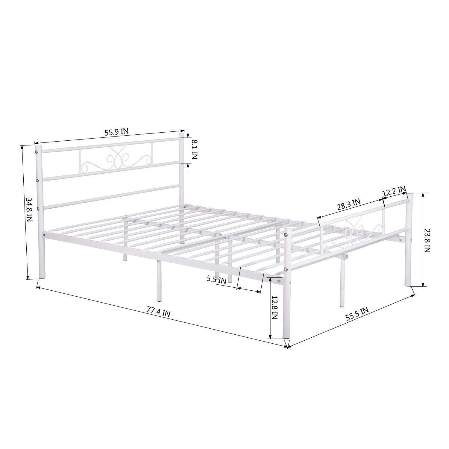 ANA Store Metal Bed Frame Mattress Foundation with Headboard and Footboard White Full Size 100% Steel Frame Safe Design with 6-Legs, The Easy Assembly.