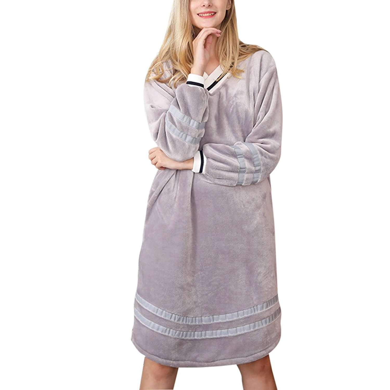 f01a0657ee Get Quotations · Zhuhaitf Womens Ladies Soft Fleece Long Sleeve Pajama Top  Nightshirt Nightgowns