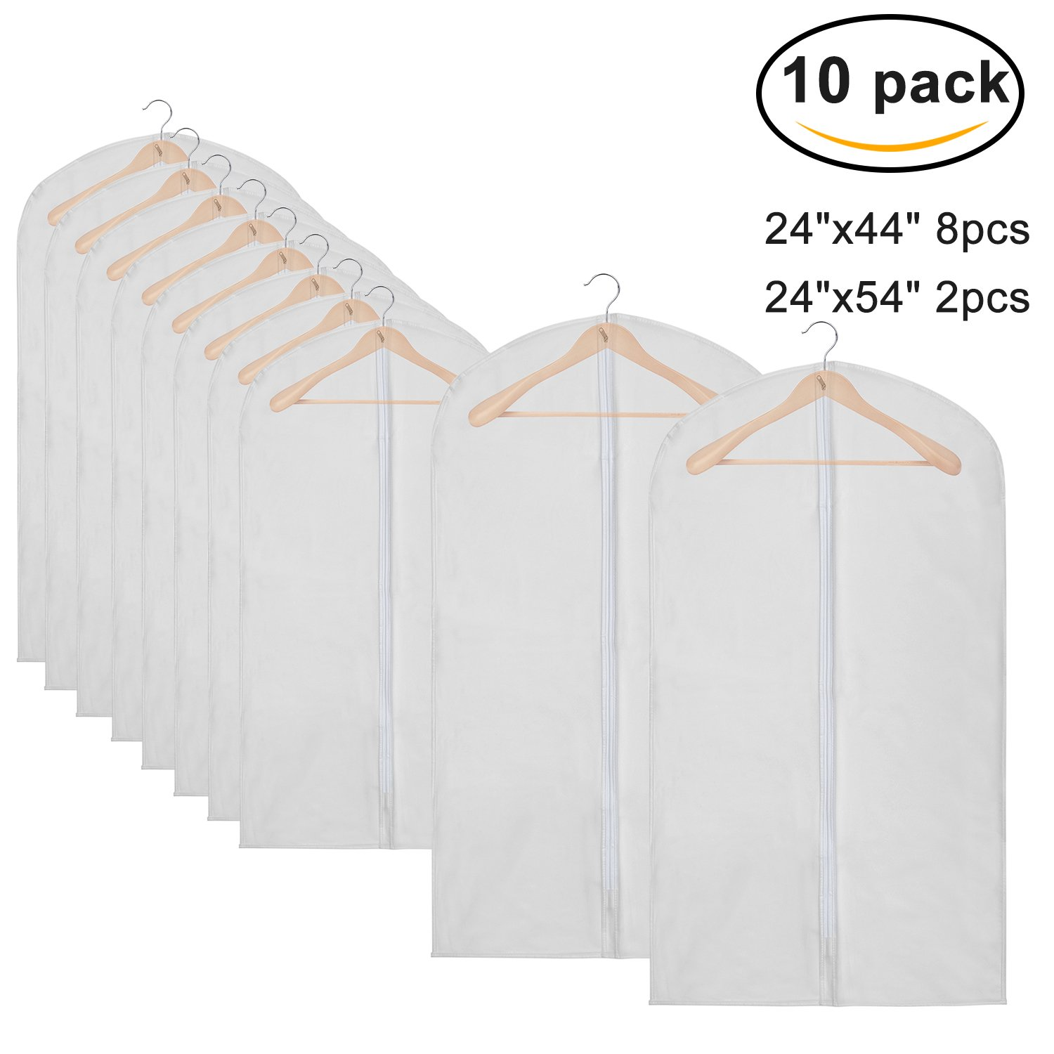 Pack of 10 PEVA Viewable Garment Bags, Full Zipper Breathable White Suit Bags, Light Weight, 8 Medium and 2 Large for Luggage, Dresses, Linens, Gown Storage or Travel