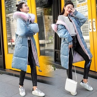 SC2005 Custom Winter The Fashion Puffer Velvet Neck long Cotton down Coat Women korean
