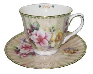 Gracie China by Coastline Imports Tea Cup and Saucer with Gold Trim, Gift Boxed, Month of July, 8-Ounce by Gracie China by Coastline Imports