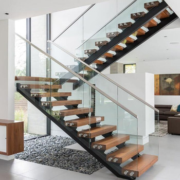 Modern Style Double Stringer Solid Wood Open Riser Stairs Staircase