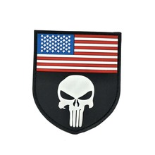 Schädel & AMERIKA FLAGGE Patch <span class=keywords><strong>GUMMI</strong></span> Punisher & USA FLAGGE Taktische PVC Patch Abzeichen Nähen Applique LAGER
