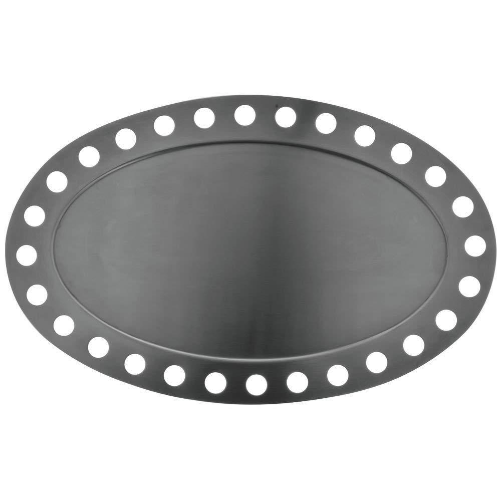 "Oval Stainless Steel Platter Futuristic Display 17""L x 10 3/4""Dia"