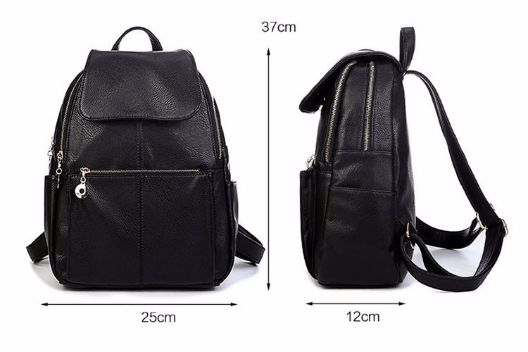 Designer Women Simple Style Backpack Fashion Pu Leather